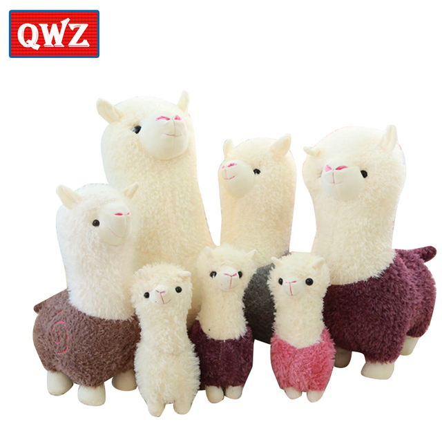 Qwz Kawaii Rainbow Alpaca Plush Doll Toys Cute Mascot Colorful
