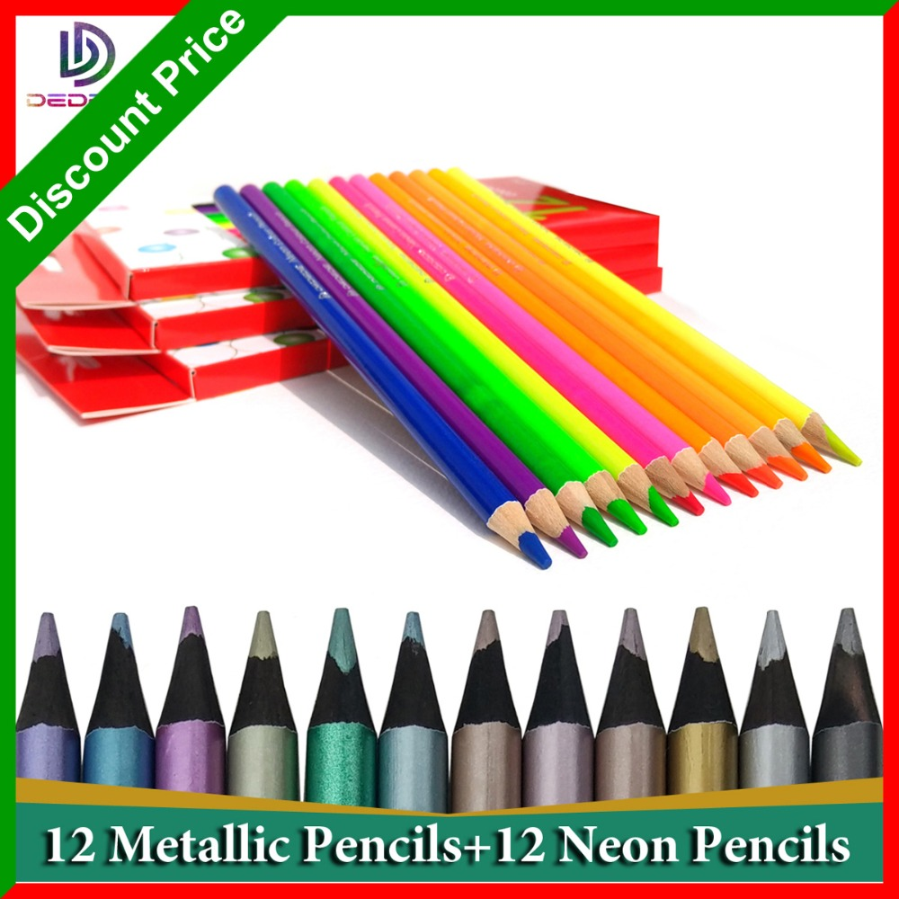 12/lot Colored Pencils Lapiz Drawing Professional Colored Pencils Metallic Color Pencil Lapices De Colores for School Stationery
