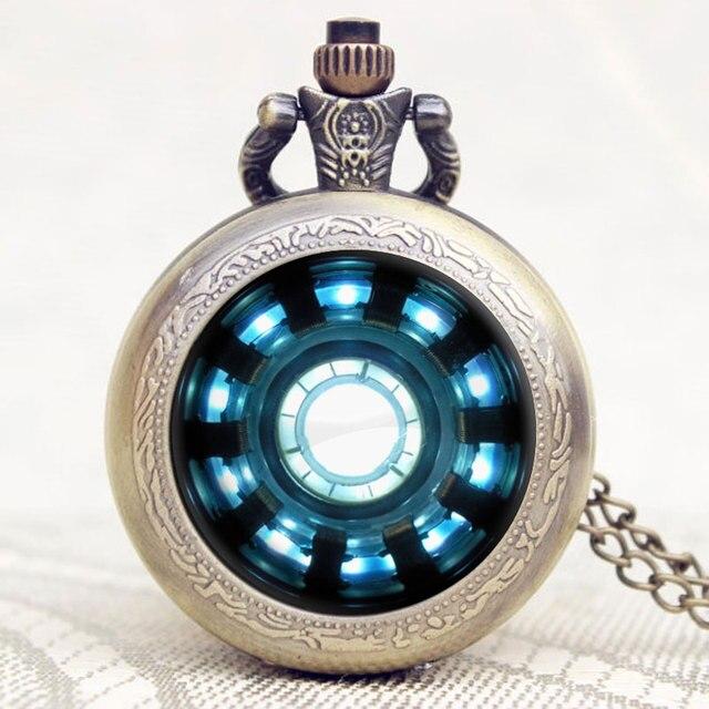 Vintage Steampunk Pocket Watch Fashion Iron Man Movies Extension Tony Stark Iron