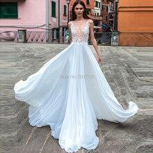 비치 라인 시폰 웨딩 드레스 딥 브이 넥 바닥 길이 스윕 기차 버튼 환상 웨딩 신부 가운 vestido de noiva
