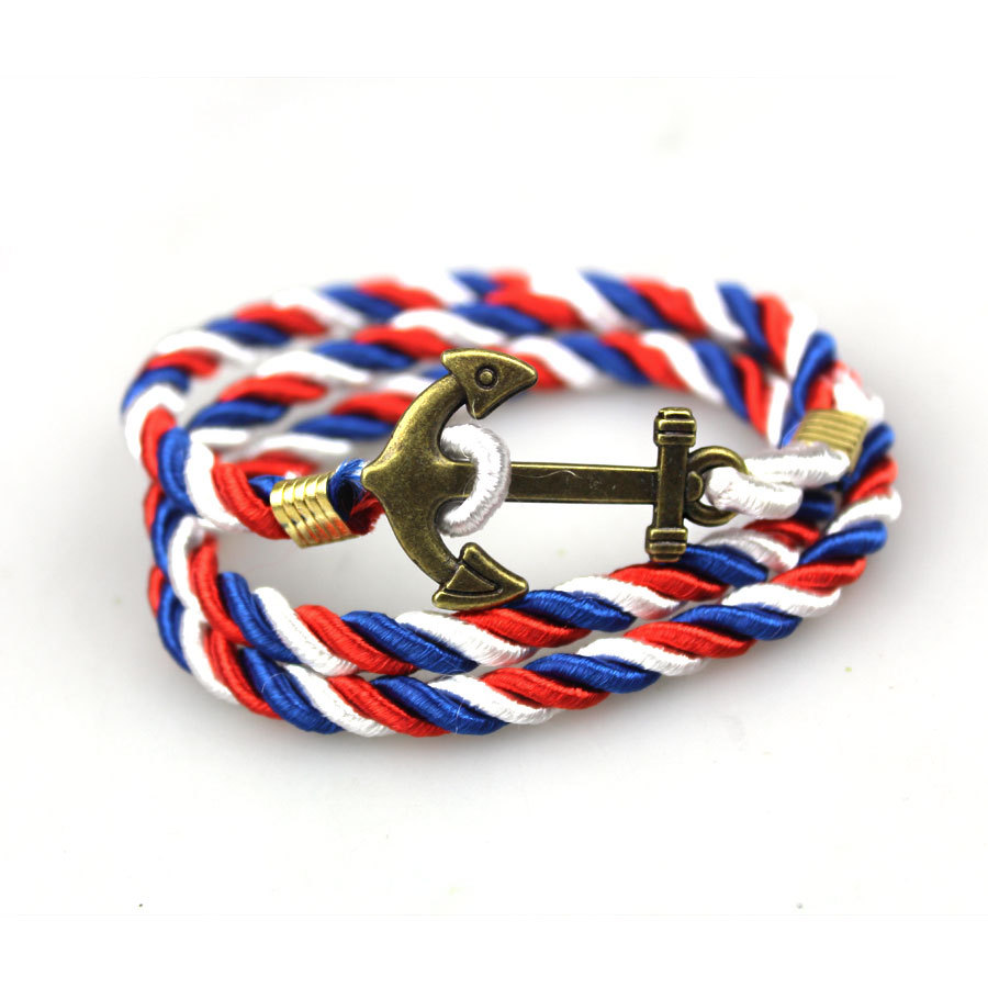 Bronze Plated Jewelry With Anchor Shaped Multilayer Rope String Charm  Friendship Bracelet Bangles For