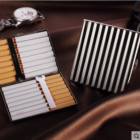 Metal Ultra Thin Fashion Pipes Creative Personality Cigaret Case Slim Metal Cigarette Bo ...