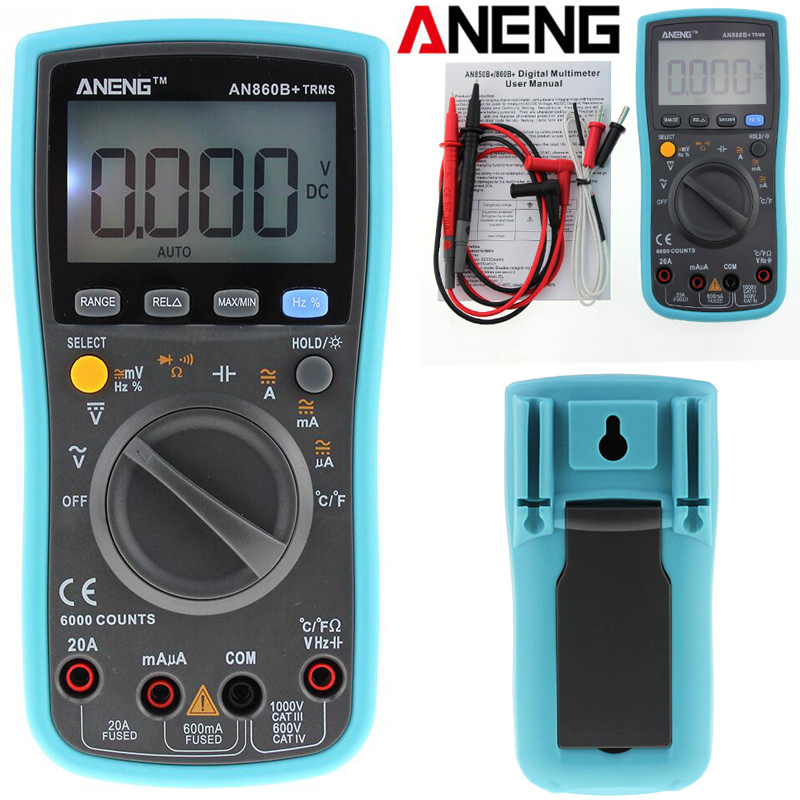 ANENG AN860B + LCD 6000 Counts Digital Multimeter Backlight AC/DC Current Voltage Resistance Frequency Temperature Tester aneng current multi meter an8207l digital multimeter 2000 counts handheld multimeter lcd display ac dc current testing