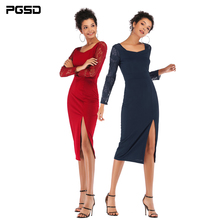 PGSD Spring summer Simple Fashion Pure Colored Women Clothes Lace sleeve splicing Sexy Forked Square Collar Pencil Dress female