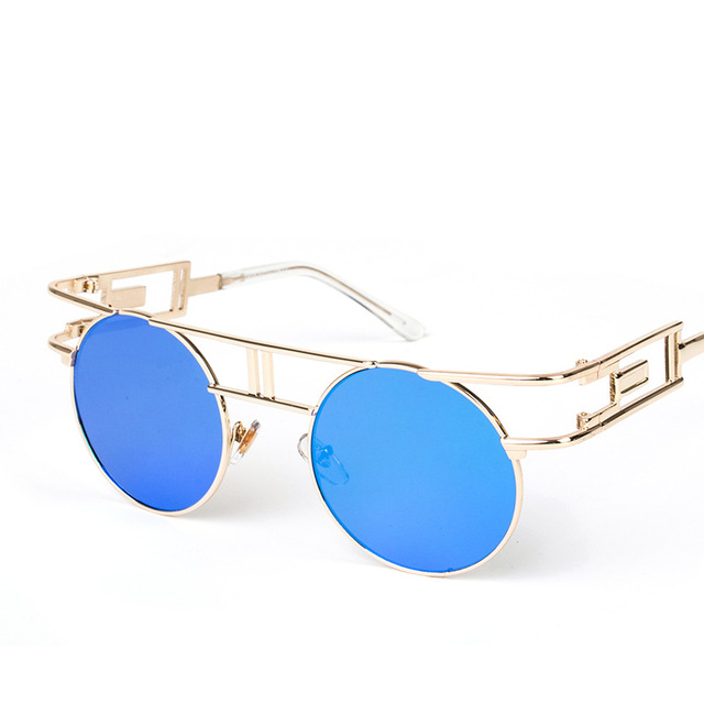 64463899a3 New Retro Round Sunglasses Men Fashion Steampunk Sunglass Women Brand  Designer Metal Sun Glasses Mens oculos de sol