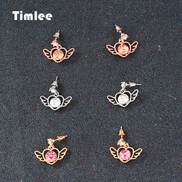 Timlee E247 Sweet Rhinestone Heart Wing Metal Drop Earrings,Wholesale