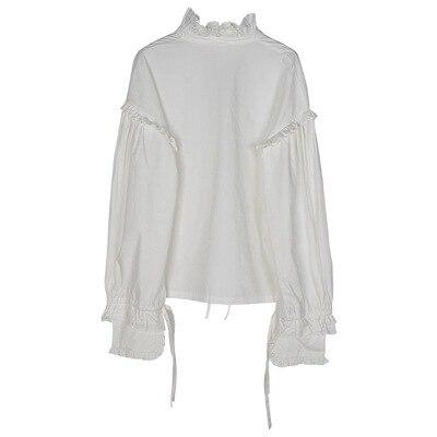 Vintage femmes à manches longues chemise blanc coton dentelle arc col montant lâche Blouse doux hauts C40 - 5