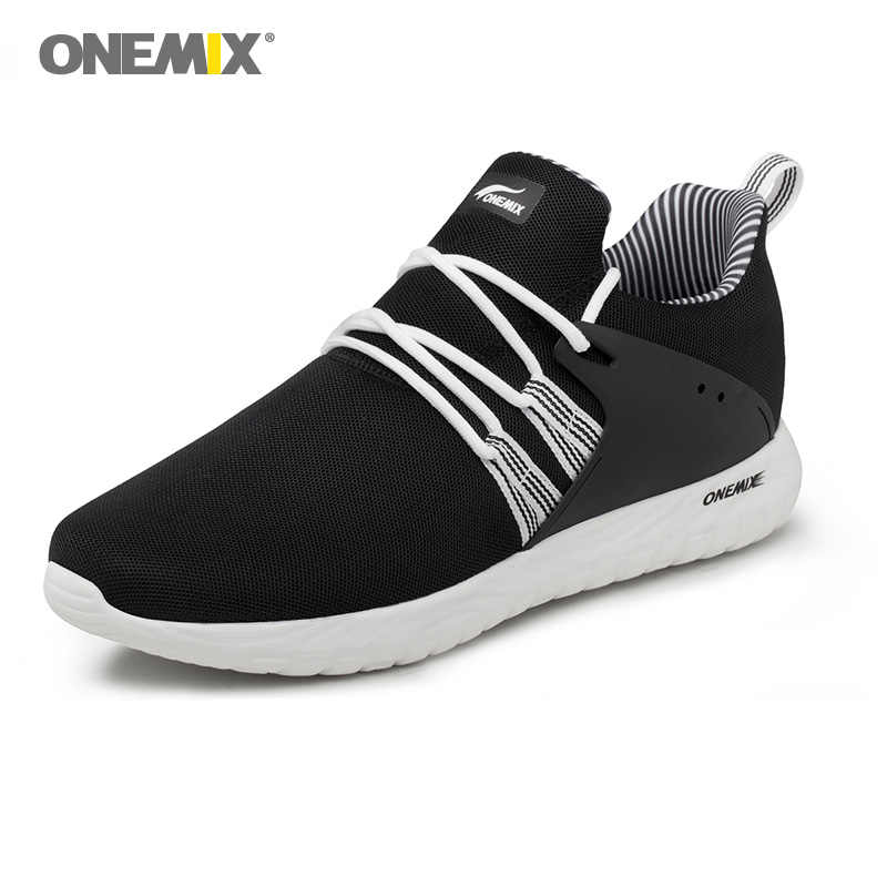 Onemix Adam koşu ayakkabıları Erkekler Için Hafif Yumuşak Siyah Retro Klasik Trend Atletik Eğitmenler Açık Spor Trail Yürüyüş Sneakers