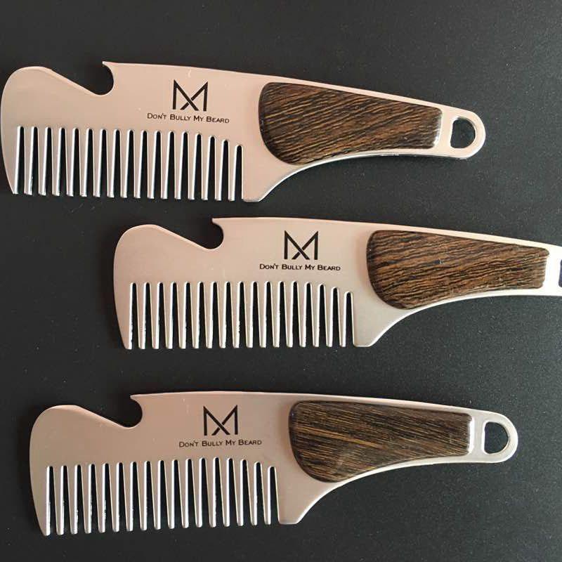 1pc Portable Male Beard Comb Stainless steel Men\'s Shaving Anti-static Pocket Mustache Brush 12.6X3.5cm