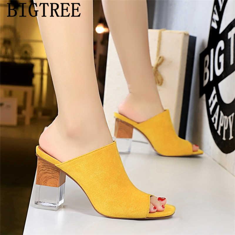 Bigtree 靴ハイヒールスリッパデザイナースライドミュール高ハイヒールピープトウシューズ夏の靴女性黒ハイヒールバレンタイン靴 buty