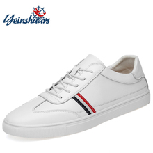 YEINSHAARS High Quality Genuine Leather Shoes Men Skateboard Lace Up Breathable Causal Sneakers Fashion Trainers