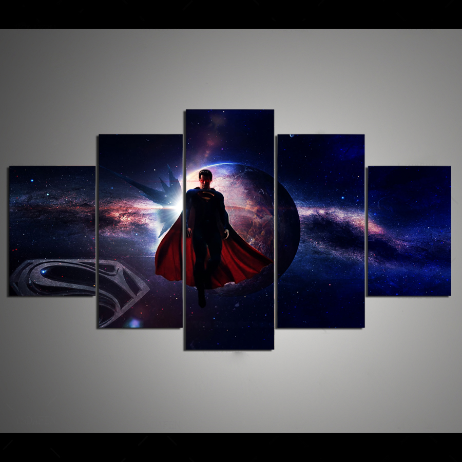 Drop Shipping HD 5 panel Canvas Art DC <font><b>superman</b></font> moon fly <font><b>logo</b></font> Painting Home decor <font><b>Poster</b></font> Picture For Living Room image