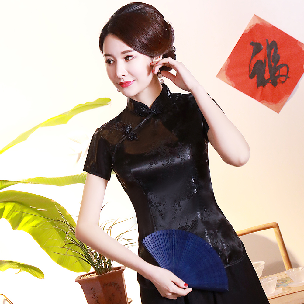 Chinese Style Women Black Shirt Mandarin Collar Blouse Stain Elagant Stage Performance Clothing Flower Sexy Tang Tops S-4XL