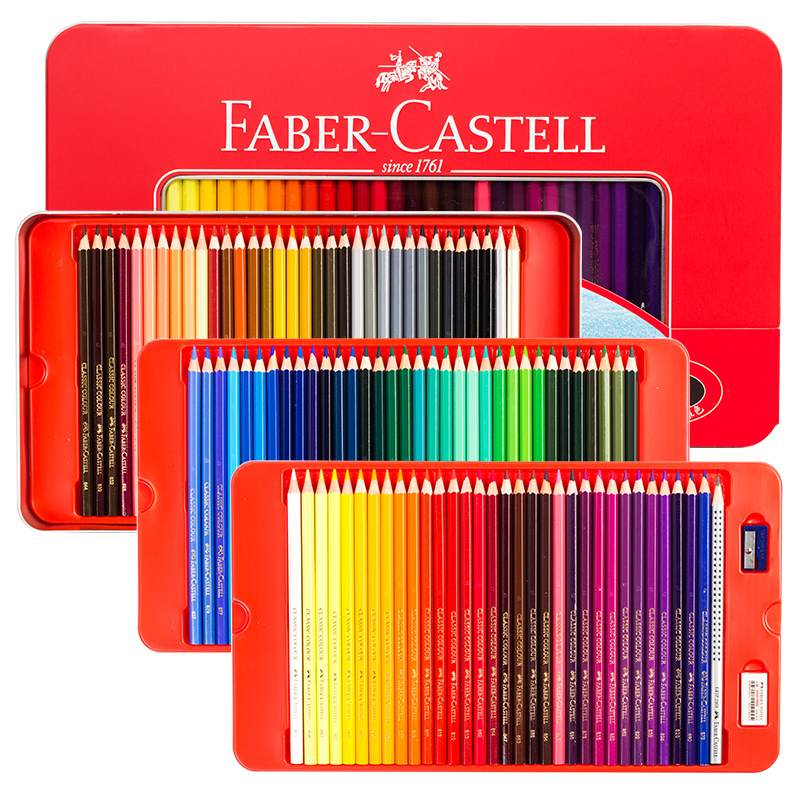 FABER CASTELL Classic Oily Color Pencil 100 Color Red  Tin Box Color Pencil Drawing Pen Castle