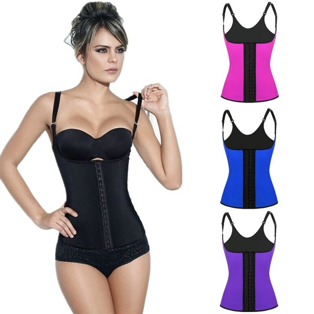 3229929ff6 Women 4pcs Steel Boned 3 Hooks Latex Girdle Vest Body Shaper Strap Corset  Waist Trainer