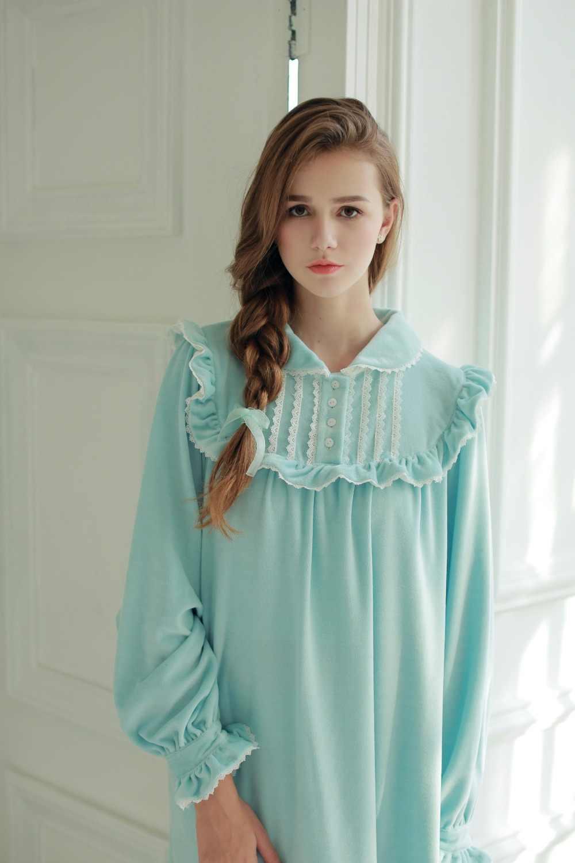 ... Women Sleepwear Winter Warm Gown Royal Princess Dress Nightgown Women s  Velvet Long Nightdress Vintage Court Style ... f3a557024