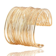 Fashion Punky Style Hollow Cuff Retro Braid Big Gold Color Bangles For Women Charm vintage Multilayer Wide Bracelet