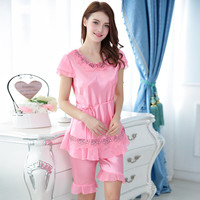 2017 New Summer Two Pieces Imitation Silk Nightgown Female Lace Pyjamas For Women Shorts Pyjamas Women