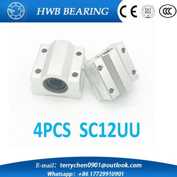 4pcs SC12UU SCS12UU 12mm Linear Ball Bearing Linear Motion Bearing Slide For CNC