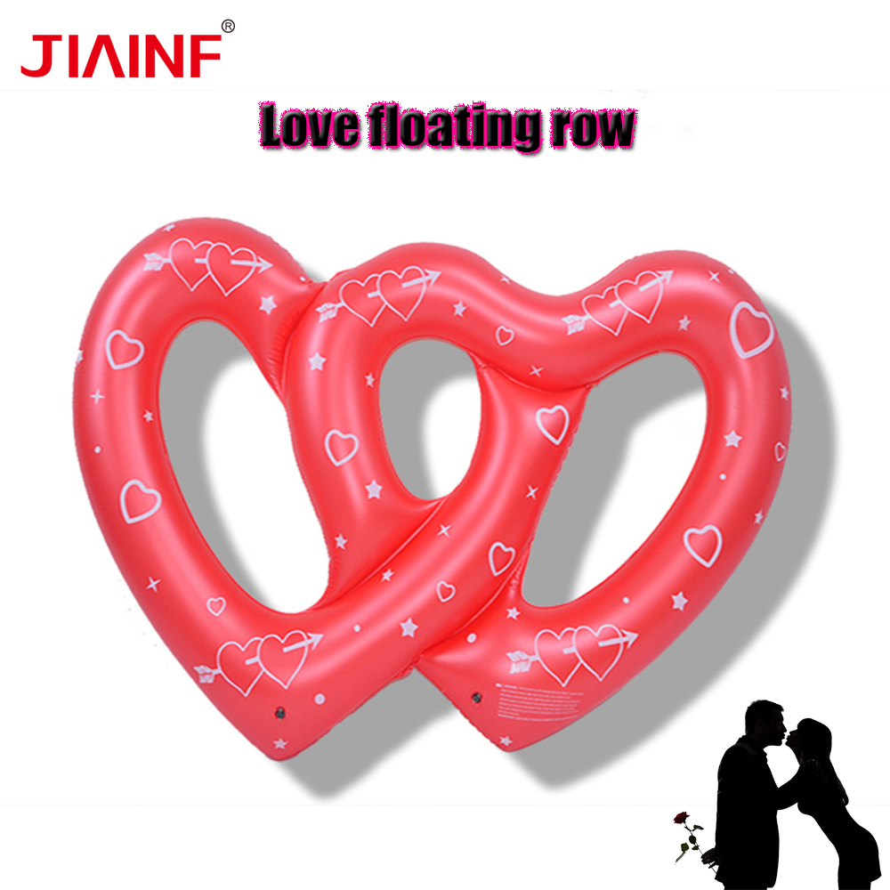 JIAINF Personal Air Mattresses Inflatable Double Heart Love Floating Rideable Swimming Pool Toy Float Raft For Diving Swimming