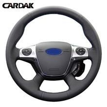CARDAK искусственная кожа сшитый вручную чехол рулевого колеса автомобиля для Ford Focus 3 2012 2013 KUGA Escape 2013