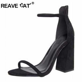 REAVECAT peep toe Block square high heels Sandals Faux suede Zipper Ankle strap cover heel Dress Black Orange tacones mujer