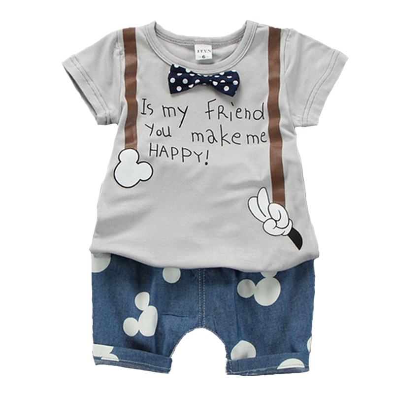 2018 infant clothes birthday summer newborn baby boy clothes cute bow tie tshirt+pants cartoon mouse baby boy set roupa menino