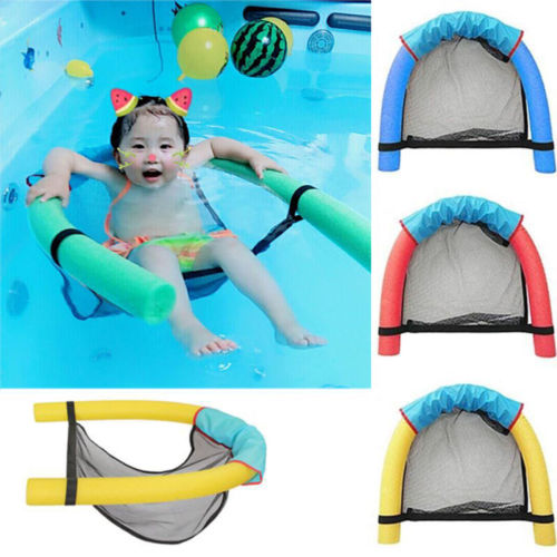 Kids Baby Swimming Pool Mesh Float Chair Beach Fun Foam Sling Seat Chair Bar Swimming Pool Safety Chair Yellow Red Blue