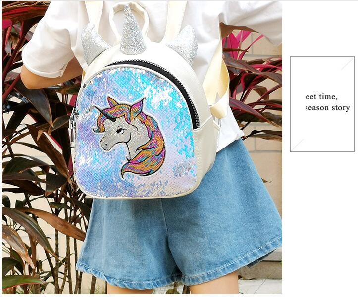 2019 moda lantejoulas mochila menina nova mini