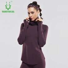Vansydical Mulheres Gola Alta Camisas de Yoga Fitness Gym Camisetas Manga  Comprida Tops Execução Respirável Sólida b9af42c265ee1