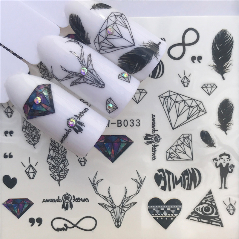 YWZLE 28 Designs Nail Sticker Set Black Dreamcather Feather Decal Water Transfer Slider For Nails Art Decor(China)