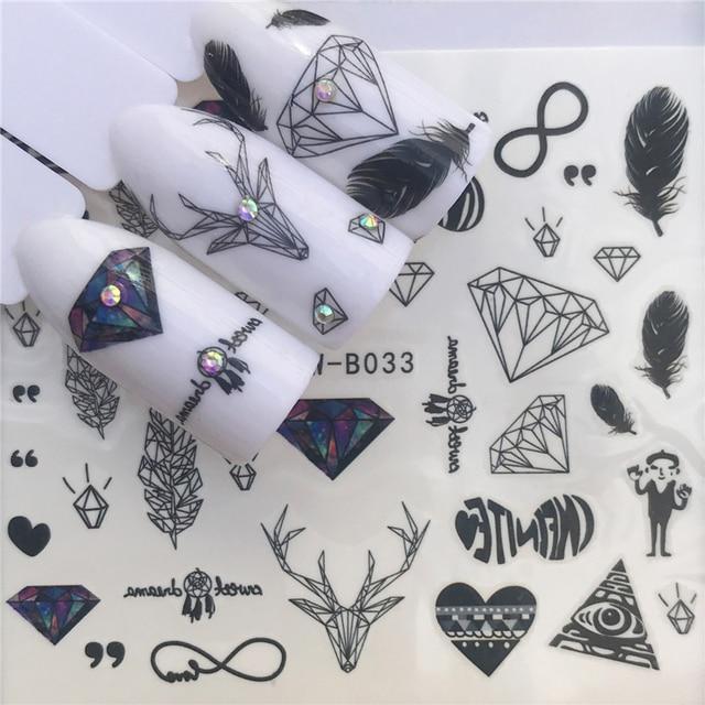 YWZLE 28 diseños pegatina de uñas conjunto negro Dreamcather pluma calcomanía transferencia de agua deslizador para decoración de Arte de uñas