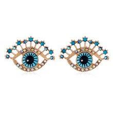 Brincos grandes com incrustação de zircão, brincos delicados em olho azul com strass, joias de moda para mulheres