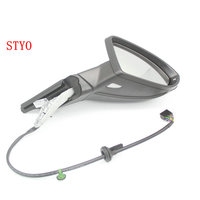 STYO Car Electric Auto Fold Side Mirror Rear View Mirror With Cover and Mirror GLASSES Fold Switch For LHD VW Golf 7 MK7 MKII 7