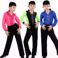 Boys Latin Dancing Clothing Set boys Kids competitions Salsa Latin Shirt+pants clothes Rumba Samba Ballroom Dance wear Outfits