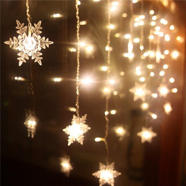 Bağlanabilir 5 M 3.5 M LED Perde Kar Tanesi Şeklinde Dize Işıklar Peri Noel Işıkları Düğün Tatil Işıkları Kablolu Kuyruk Fiş
