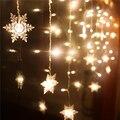Conecte 216 pcs/5 m 96 pcs/3 m cortina de led luzes da corda do floco de neve levou luzes de fadas Natal luzes de Casamento Decoração Do Partido