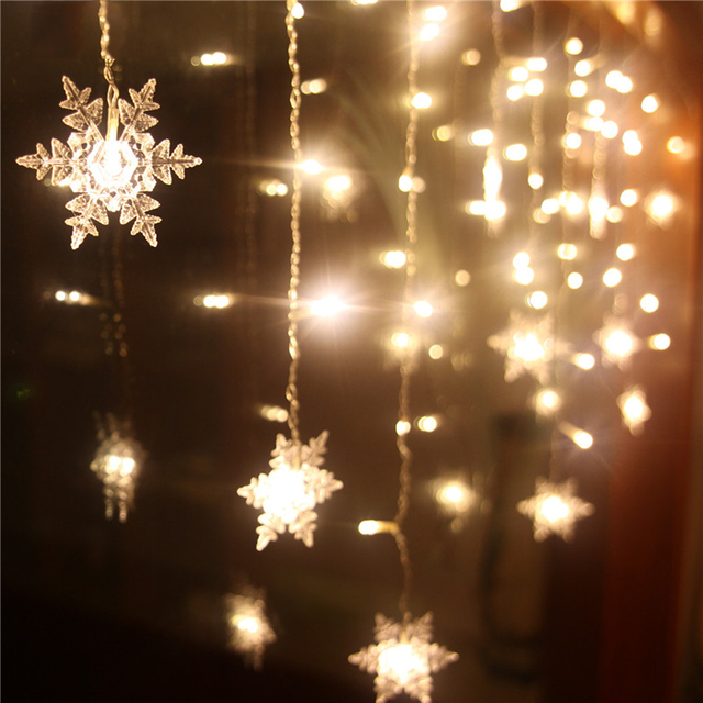 Connect 216pcs/5m 96pcs/3m led curtain snowflake string lights led fairy lights Christmas Lights Wedding Party Decoration