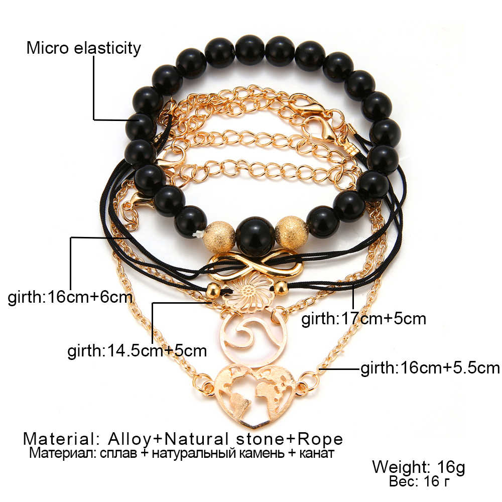 FAMSHIN Bohemian Black Beaded Bracelets For Women Men Vintage Fashion Heart Wave Charm Bracelets Sets Jewelry Christmas Gifts