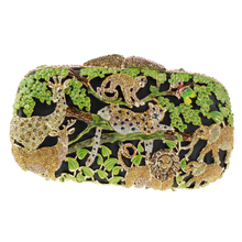 Pillow-shaped Crystal Clutches Online Shopping Zoo Scene Green Fashion Clutch Purses with Golden Chain Crystal Handbag Clutch