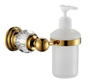 Free shipping Luxury Crystal & Brass & Glass Gold Liquid Soap Dispenser n Hand Sanitizer Glass Bottle CY020