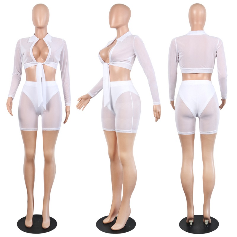 f6b4a5bd03 IASKY 2018 New see through mesh beach Cover ups sexy women long sleeve Top+shorts  pants Bikini Swimsuit Cover Up 2PCS Set-in Cover-Ups from Sports ...