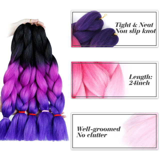 100g/pack 24inch Ombre Synthetic Kanekalon Braiding Hair For Crochet Braids False Hair Extensions African Ombre Jumbo Braids WTB 2