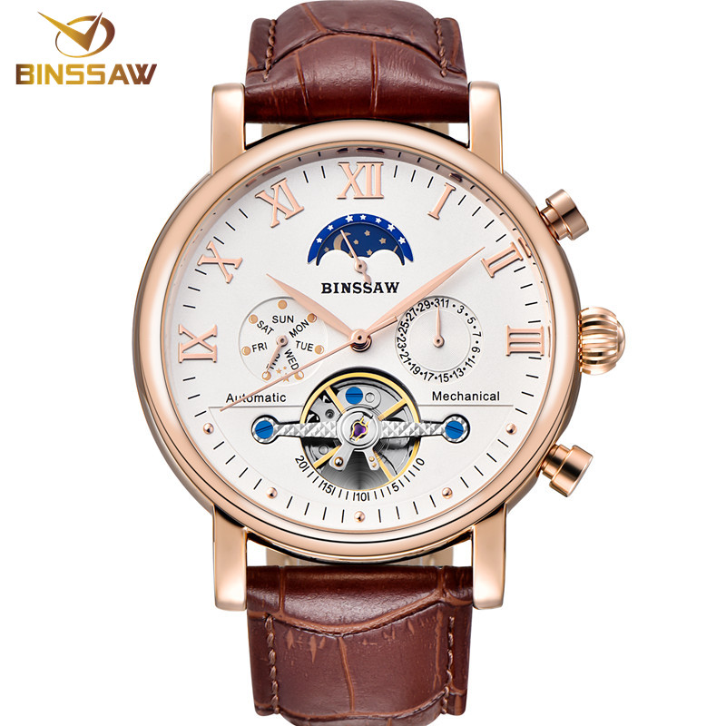 цена Men Tourbillon Automatic Mechanical Watch Fashion&Casual Luxury Top Brand Sports Leather Business Watches Phase Moon Self-Wind онлайн в 2017 году
