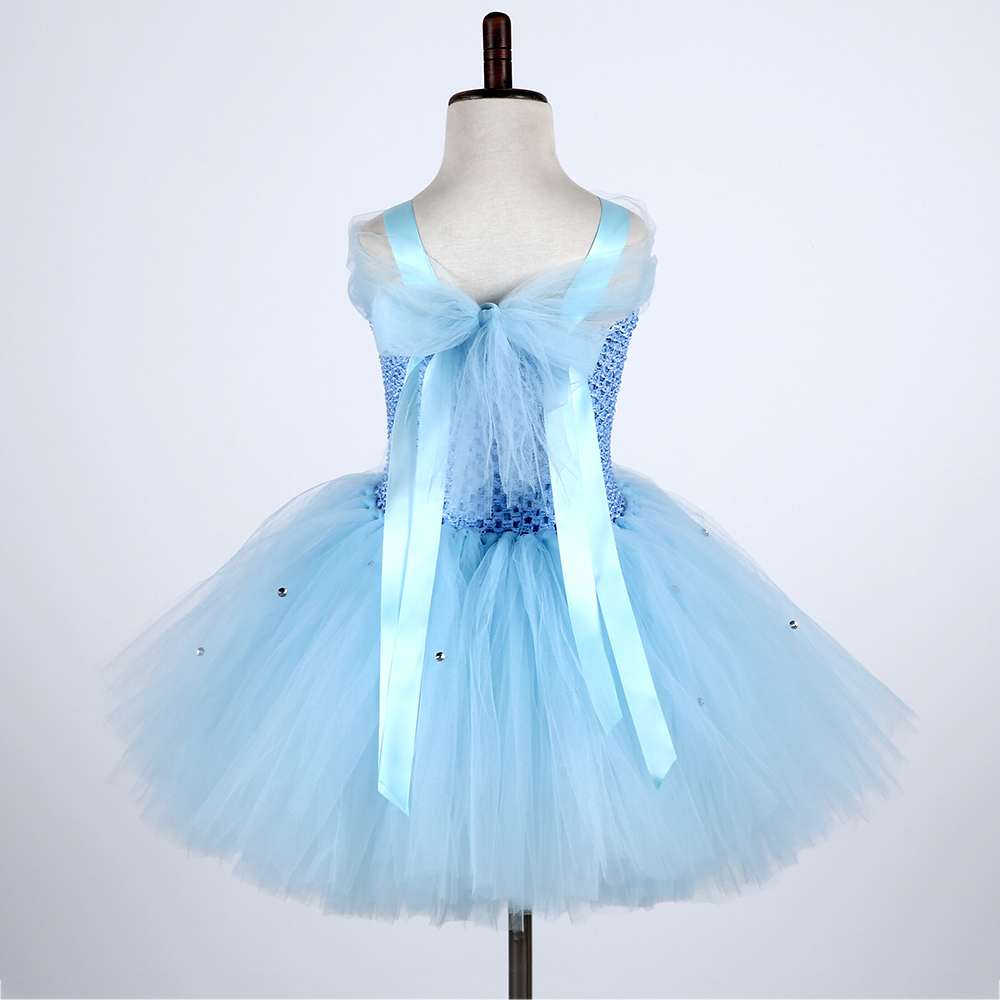 Cute Froze Child Princess Christmas Snow Queen Dresses Elza Costumes Girls Flower Pearls Party Tutu Dress (3)