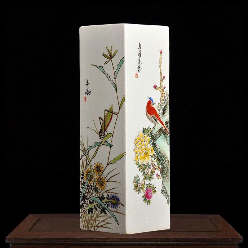 J Ingdezhenเซรามิกบริสุทธิ์มือวาดสี่ด้านพอร์ซเลนแจกันศิลปะจีนโบราณเครื่องประดับฝีมือ-ใน แจกัน จาก บ้านและสวน บน   1