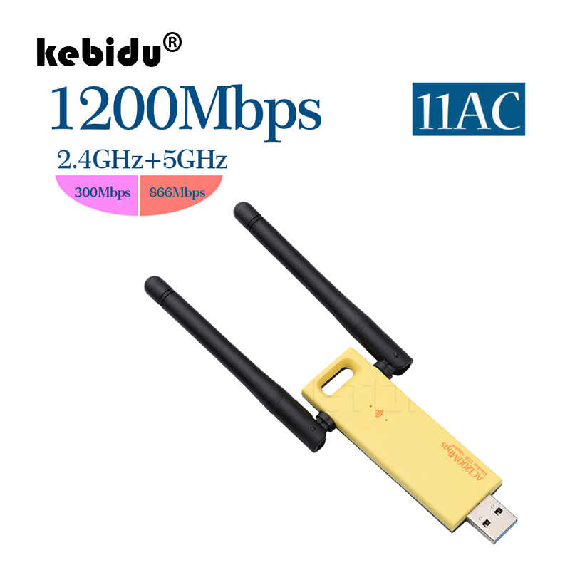 kebidu Wireless Wifi Adapter 1200mbps Dual Band 5Ghz 2.4Ghz Adapter 802.11ac RTL8812 Chipset Aerial Dongle Mini USB Network Card