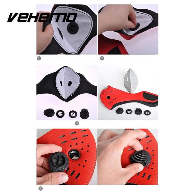 Vehemo Cool Anti Dust Motorcycle Bicycle Cycling Bike Ski Atv Half Face Mask Filter Black Durable Neoprene High quality 3