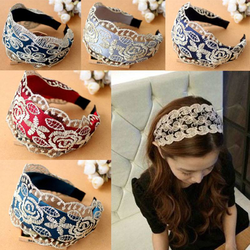 #AD17047 1Pcs Girl Women  Lace Rose Flower Headband Wide Band Hairband Embroidery Cloth Headwear Accessories 5 Colors AD17047 mens watches top brand luxury quartz oukeshi fashion casual business watch male wristwatches quartz watch relogio masculino