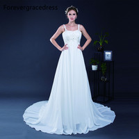 Forevergracedress Elegant A Line Wedding Dress New Spaghetti Strap Sleeveless Long Chiffon Bridal Gown Plus Size
